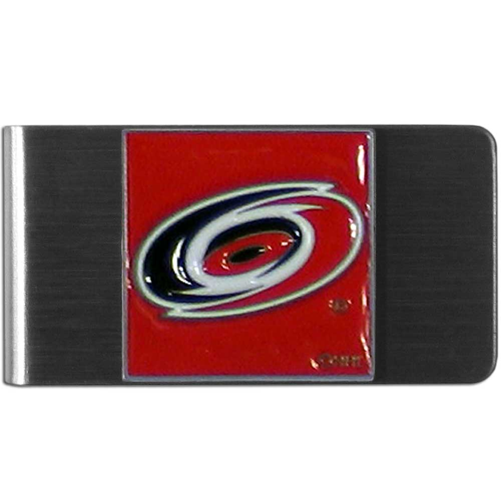 Carolina Hurricanes® Steel Money Clip - Our stainless steel money clip has classic style and team pride wrap up in a beautiful package. The attractive clip features a metal Carolina Hurricanes® emblem with expertly enameled detail