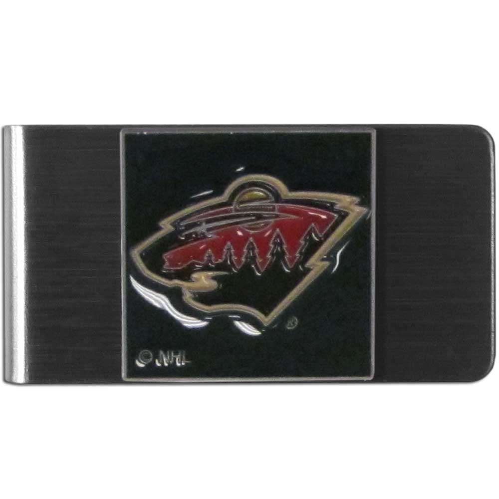 Minnesota Wild® Steel Money Clip - Our stainless steel money clip has classic style and team pride wrap up in a beautiful package. The attractive clip features a metal Minnesota Wild® emblem with expertly enameled detail