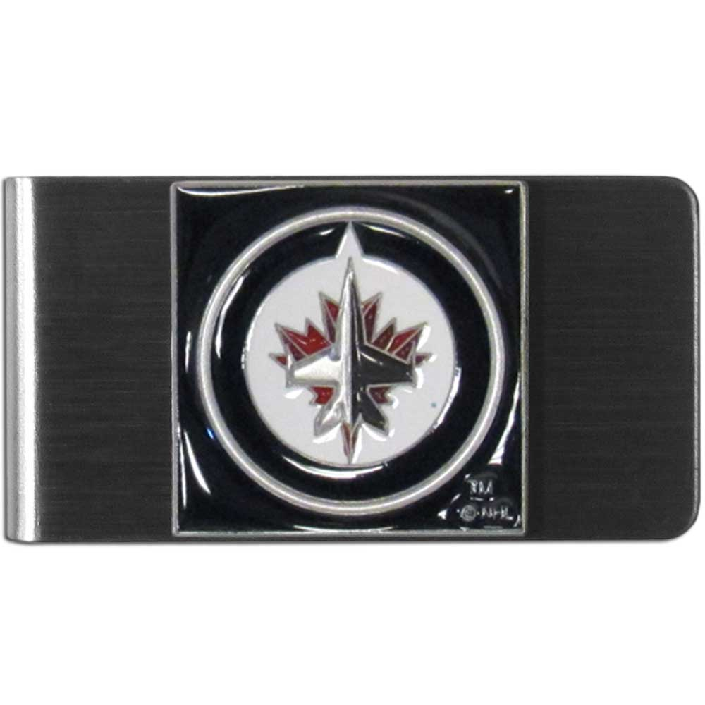 Winnipeg Jets™ Steel Money Clip - Our stainless steel money clip has classic style and team pride wrap up in a beautiful package. The attractive clip features a metal Winnipeg Jets™ emblem with expertly enameled detail
