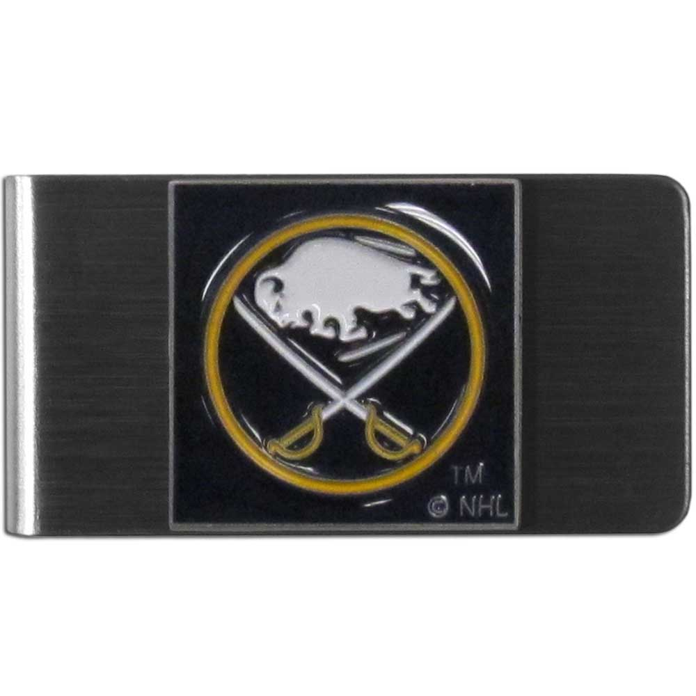 Buffalo Sabres® Steel Money Clip - Our stainless steel money clip has classic style and team pride wrap up in a beautiful package. The attractive clip features a metal Buffalo Sabres® emblem with expertly enameled detail