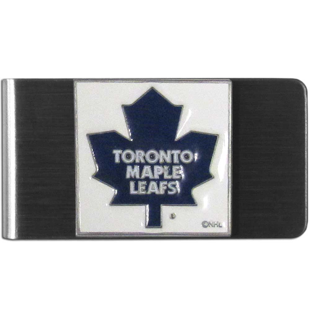 Toronto Maple Leafs® Steel Money Clip - Our stainless steel money clip has classic style and team pride wrap up in a beautiful package. The attractive clip features a metal Toronto Maple Leafs® emblem with expertly enameled detail