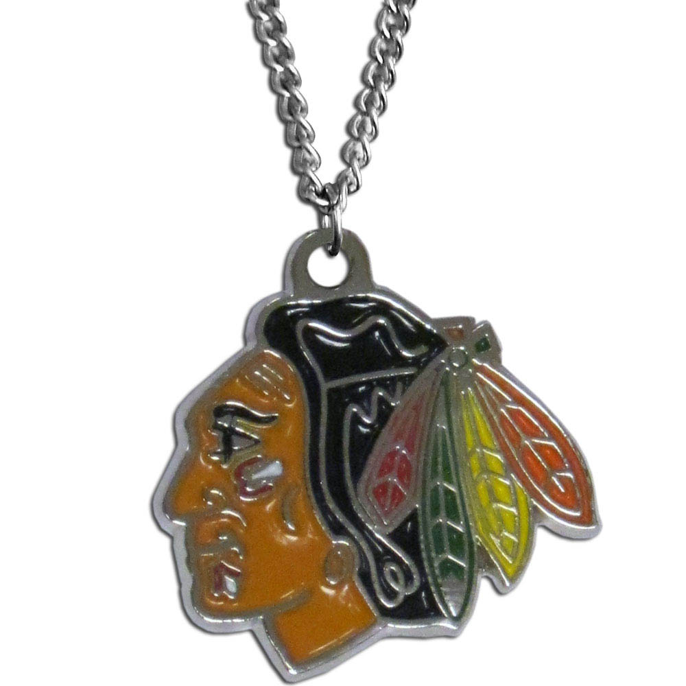 Chicago Blackhawks® Chain Necklace - Make a statement with our chain necklaces. The 22 inch chain features a fully cast, metal Chicago Blackhawks® pendant with vivid enameled details. Perfect accessory for game day and nice enough to wear everyday!