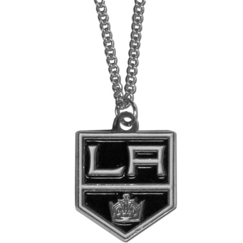 "Los Angeles Kings Chain Necklace - Officially licensed NHL Los Angeles Kings chain necklace features a fully cast & enameled Los Angeles Kings pendant with a nickel free chrome finish on a 21"" chain. Thank you for visiting CrazedOutSports"