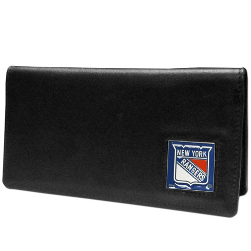 NHL Checkbook Cover  -  New York Rangers - NHL New York Rangers checkbook cover is made of high quality leather includes inside pockets for added storage and plastic separator sheet for duplicate check writing. New York Rangers logo square is sculpted and enameled with fine detail. Packaged in a window box. Thank you for visiting CrazedOutSports