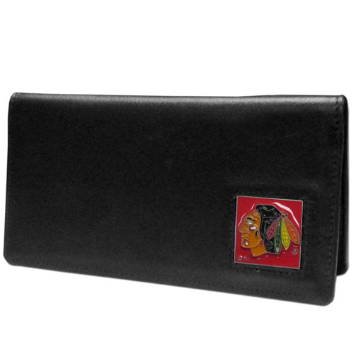 Chicago Blackhawks Leather Checkbook - Officially licensed NHL Chicago Blackhawks checkbook cover is made of fine grain leather and features a fully cast and enameled Chicago Blackhawks emblem. The Chicago Blackhawks checkbook cover works for both top and side loaded checks and has a plastic sleeve for duplicate check writing. Thank you for visiting CrazedOutSports