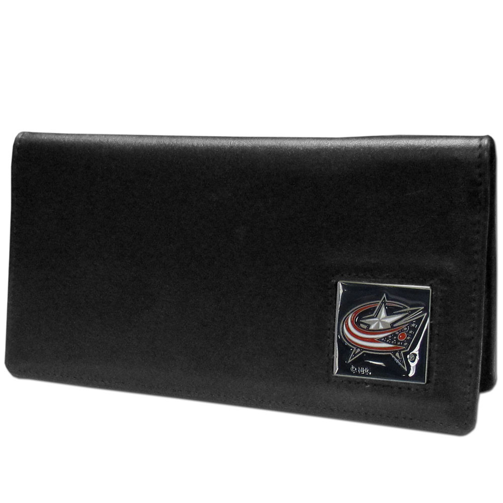 Columbus Blue Jackets® Leather Checkbook Cover - Our officially licensed checkbook covers is made of fine grain leather and features a fully cast and enameled Columbus Blue Jackets® emblem. The cover works for both top and side loaded checks and has a plastic sleeve for duplicate check writing.
