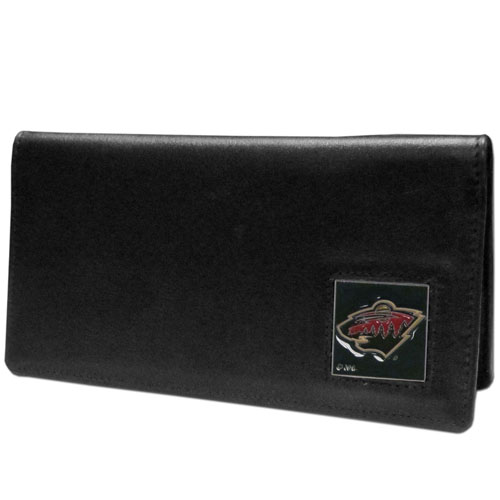 Minnesota Wild Leather Checkbook - Officially licensed NHL Minnesota Wild checkbook cover is made of fine grain leather and features a fully cast and enameled Minnesota Wild emblem. The Minnesota Wild checkbook cover works for both top and side loaded checks and has a plastic sleeve for duplicate check writing. Thank you for visiting CrazedOutSports