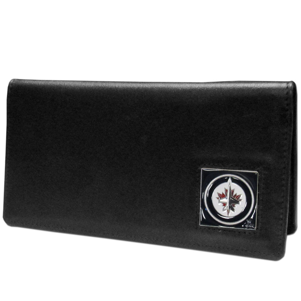 Winnipeg Jets™ Leather Checkbook Cover - Our officially licensed checkbook covers is made of fine grain leather and features a fully cast and enameled Winnipeg Jets™ emblem. The cover works for both top and side loaded checks and has a plastic sleeve for duplicate check writing.