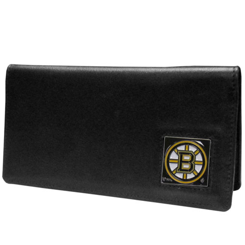 Boston Bruins Leather Checkbook - Officially licensed NHL Boston Bruins checkbook cover is made of fine grain leather and features a fully cast and enameled Boston Bruins emblem. The Boston Bruins checkbook cover works for both top and side loaded checks and has a plastic sleeve for duplicate check writing. Thank you for visiting CrazedOutSports