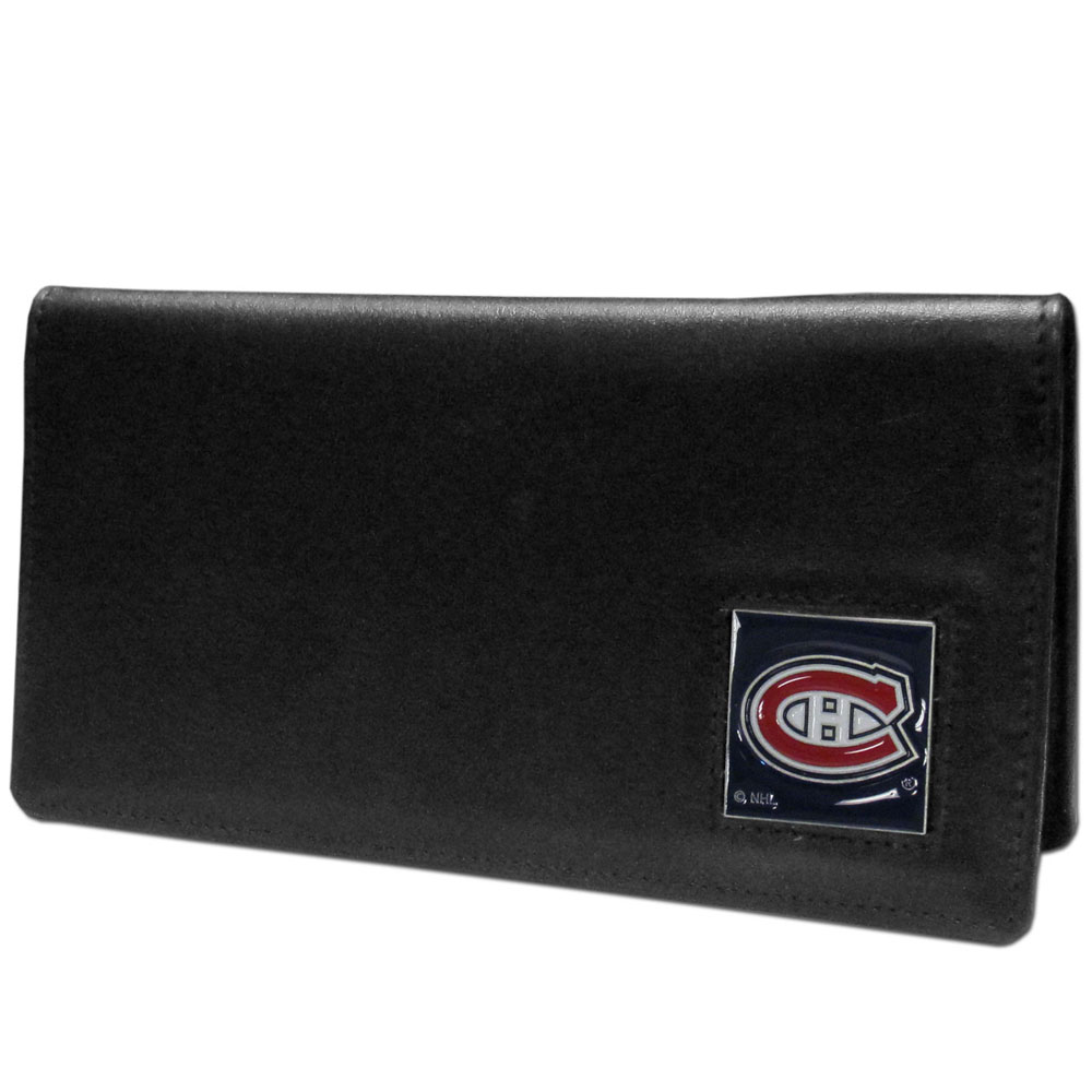 Montreal Canadiens® Leather Checkbook Cover - Our officially licensed checkbook covers is made of fine grain leather and features a fully cast and enameled Montreal Canadiens® emblem. The cover works for both top and side loaded checks and has a plastic sleeve for duplicate check writing.