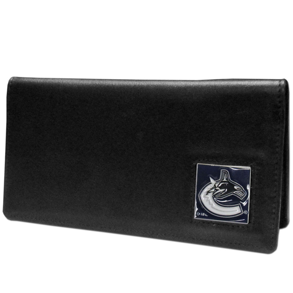 Vancouver Canucks® Leather Checkbook Cover - Our officially licensed checkbook covers is made of fine grain leather and features a fully cast and enameled Vancouver Canucks® emblem. The cover works for both top and side loaded checks and has a plastic sleeve for duplicate check writing.