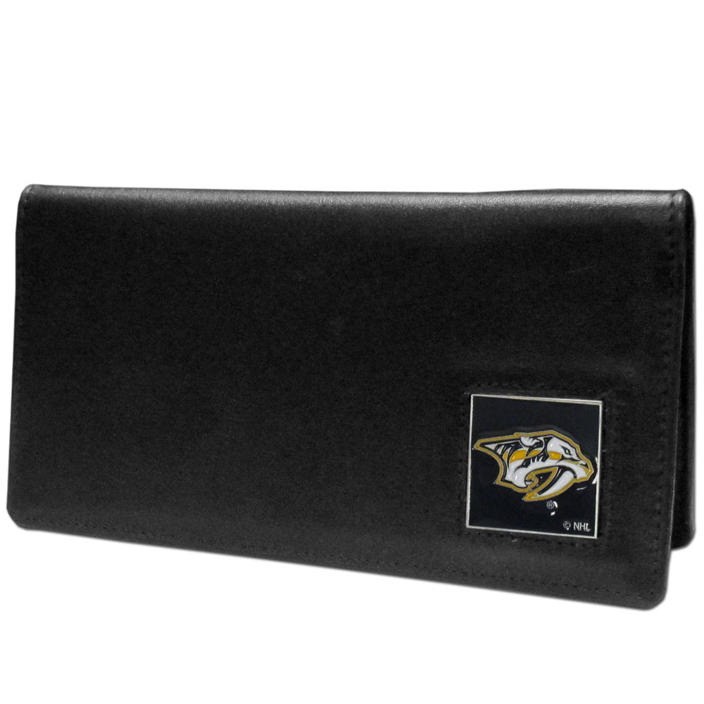 Nashville Predators® Leather Checkbook Cover - Our officially licensed checkbook covers is made of fine grain leather and features a fully cast and enameled Nashville Predators® emblem. The cover works for both top and side loaded checks and has a plastic sleeve for duplicate check writing.