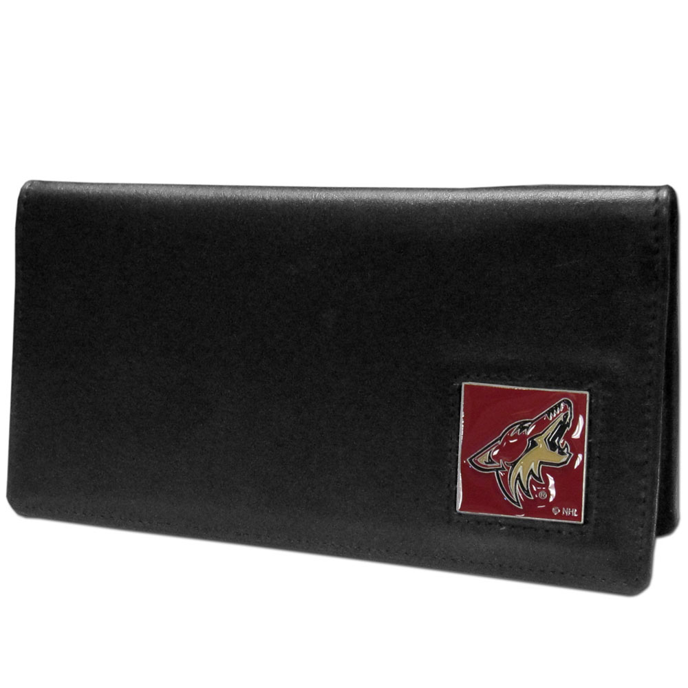 Arizona Coyotes® Leather Checkbook Cover - Our officially licensed checkbook covers is made of fine grain leather and features a fully cast and enameled Arizona Coyotes® emblem. The cover works for both top and side loaded checks and has a plastic sleeve for duplicate check writing.