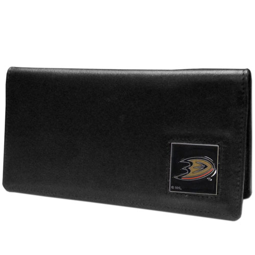 Anaheim Ducks Leather Checkbook - Officially licensed NHL Anaheim Ducks checkbook cover is made of fine grain leather and features a fully cast and enameled Anaheim Ducks emblem. The Anaheim Ducks checkbook cover works for both top and side loaded checks and has a plastic sleeve for duplicate check writing. Thank you for visiting CrazedOutSports