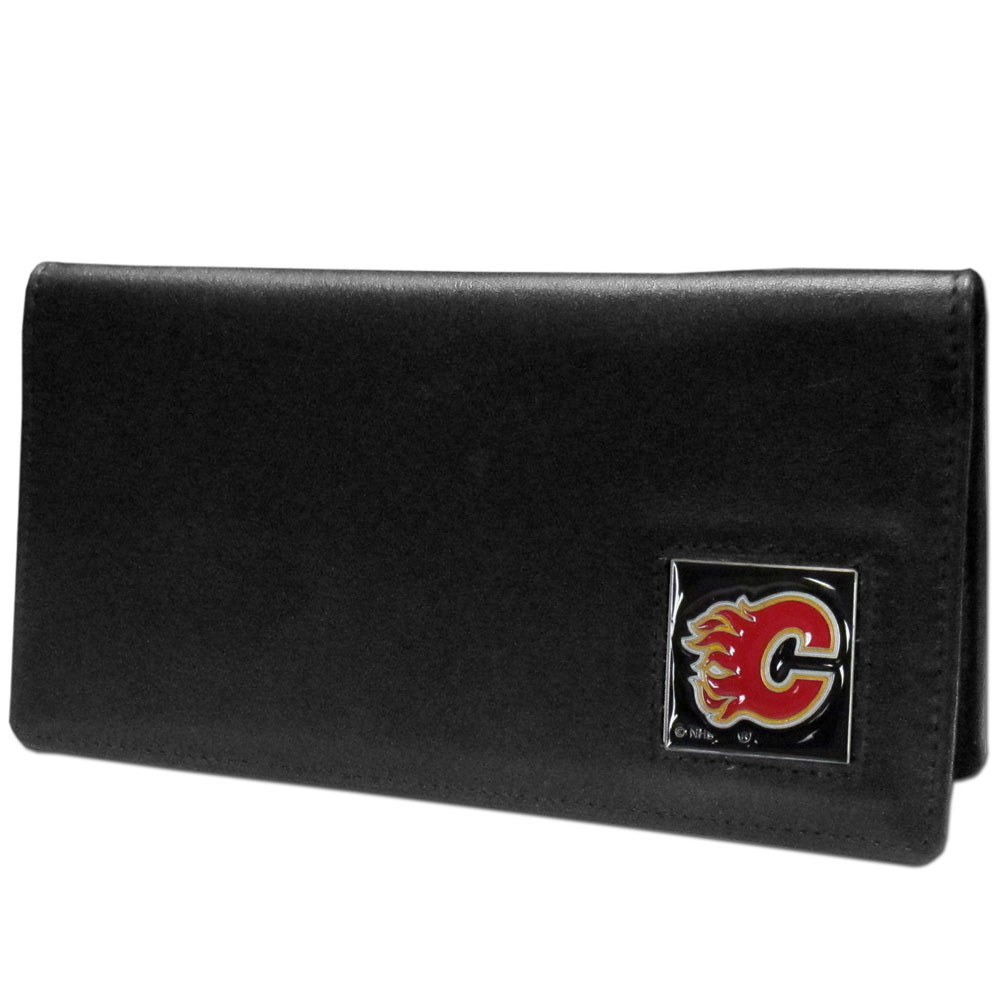 Calgary Flames® Leather Checkbook Cover - Our officially licensed checkbook covers is made of fine grain leather and features a fully cast and enameled Calgary Flames® emblem. The cover works for both top and side loaded checks and has a plastic sleeve for duplicate check writing.