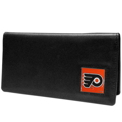 Philadelphia Flyers Checkbook Cover - NHL Philadelphia Flyers checkbook cover is made of high quality leather includes inside pockets for added storage and plastic separator sheet for duplicate check writing. Philadelphia Flyers logo square is sculpted and enameled with fine detail. Packaged in a window box.