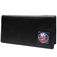 New York Islanders  Leather Checkbook Cover - Officially licensed NHL  New York Islanders checkbook cover is made of fine grain leather and features a fully cast and enameled New York Islanders emblem. The New York Islanders checkbook cover works for both top and side loaded checks and has a plastic sleeve for duplicate check writing.