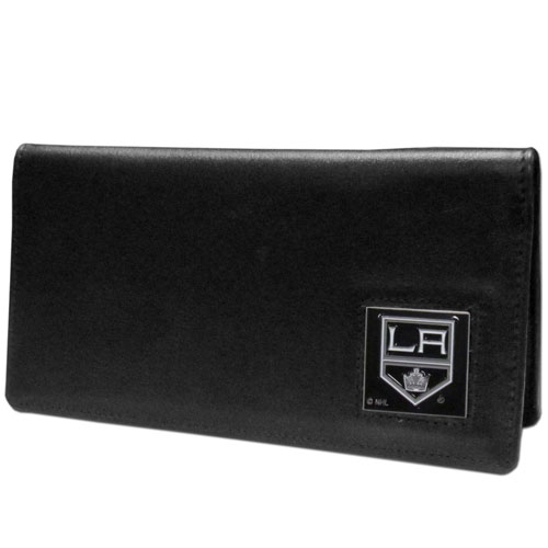 Los Angeles Kings Leather Checkbook - Officially licensed NHL Los Angeles Kings checkbook covers is made of fine grain leather and features a fully cast and enameled Los Angeles Kings emblem. The Los Angeles Kings checkbook cover works for both top and side loaded checks and has a plastic sleeve for duplicate check writing.