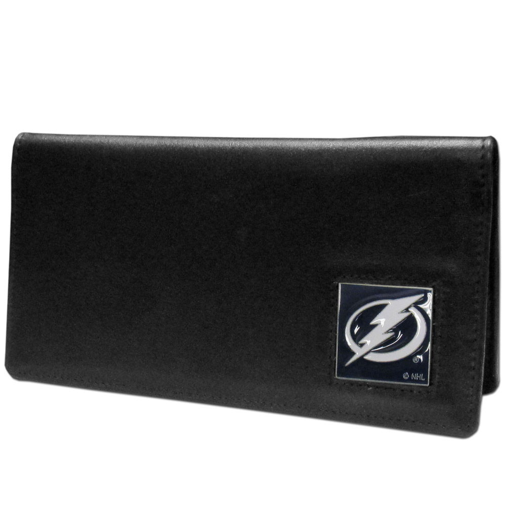 Tampa Bay Lightning® Leather Checkbook Cover - Our officially licensed checkbook covers is made of fine grain leather and features a fully cast and enameled Tampa Bay Lightning® emblem. The cover works for both top and side loaded checks and has a plastic sleeve for duplicate check writing.