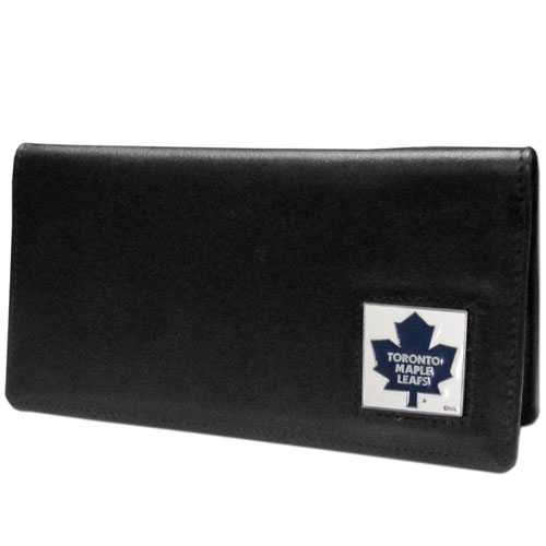 Toronto Maple Leafs Checkbook Cover  - Toronto Maple Leafs - NHL Toronto Maple Leafs executive checkbook cover is made of high quality leather includes inside pockets for added storage and plastic separator sheet for duplicate check writing. Toronto Maple Leafs logo square is sculpted and enameled with fine Toronto Maple Leafs detail. Packaged in a window box.