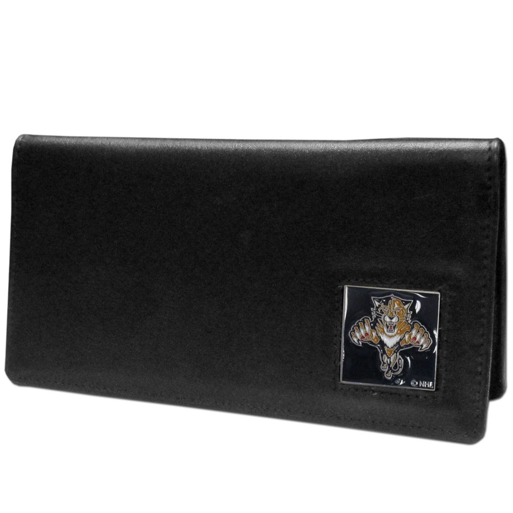 Florida Panthers® Leather Checkbook Cover - Our officially licensed checkbook covers is made of fine grain leather and features a fully cast and enameled Florida Panthers® emblem. The cover works for both top and side loaded checks and has a plastic sleeve for duplicate check writing.