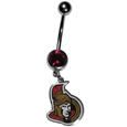 Ottawa Senators  Steel Navel Ring - Let the world know you're a Ottawa Senators fan with our officially licensed Ottawa Senators  belly ring with a large, team colored crystal. The 14 gauge navel ring is 316L Surgical Stainless steel has a Ottawa Senators dangle charm.