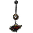 Minnesota Wild  Steel Navel Ring - Let the world know you're a Minnesota Wild fan with our officially licensed Minnesota Wild  belly ring with a large, team colored crystal. The 14 gauge navel ring is 316L Surgical Stainless steel has a Minnesota Wild dangle charm.