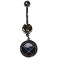Buffalo Sabres  Steel Navel Ring - Let the world know you're a Buffalo Sabres fan with our officially licensed Buffalo Sabres  belly ring with a large, team colored crystal. The 14 gauge navel ring is 316L Surgical Stainless steel has a Buffalo Sabres dangle charm.