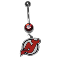 New Jersey Devils  Steel Navel Ring - Let the world know you're a New Jersey Devils fan with our officially licensed New Jersey Devils  belly ring with a large, team colored crystal. The 14 gauge navel ring is 316L Surgical Stainless steel has a New Jersey Devils dangle charm.
