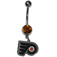 Philadelphia Flyers  Steel Navel Ring - Let the world know you're a Philadelphia Flyers fan with our officially licensed Philadelphia Flyers  belly ring with a large, team colored crystal. The 14 gauge navel ring is 316L Surgical Stainless steel has a Philadelphia Flyers dangle charm.