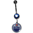 Edmonton Oilers  Steel Navel Ring - Let the world know you're a Edmonton Oilers fan with our officially licensed Edmonton Oilers  belly ring with a large, team colored crystal. The 14 gauge navel ring is 316L Surgical Stainless steel has a Edmonton Oilers dangle charm.