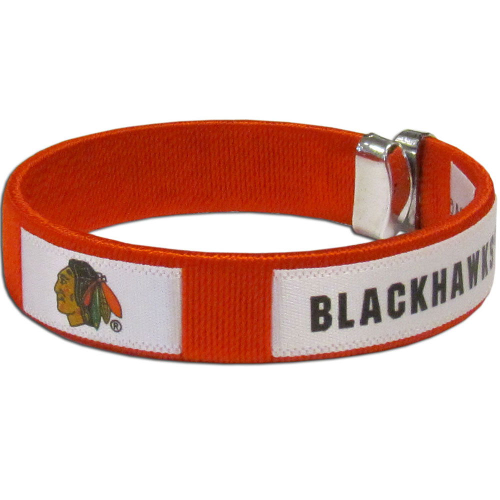 Chicago Blackhawks® Fan Bracelet - Our Fan Bracelet is a one size fits all string cuff bracelets with a screen printed ribbon with the team Chicago Blackhawks® name and logo.