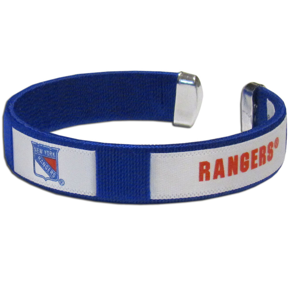 New York Rangers® Fan Bracelet - Our Fan Bracelet is a one size fits all string cuff bracelets with a screen printed ribbon with the team New York Rangers® name and logo.