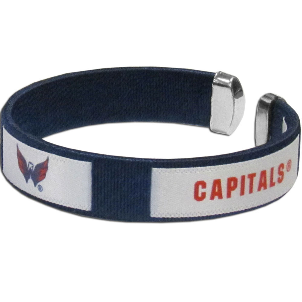Washington Capitals® Fan Bracelet - Our Fan Bracelet is a one size fits all string cuff bracelets with a screen printed ribbon with the team Washington Capitals® name and logo.