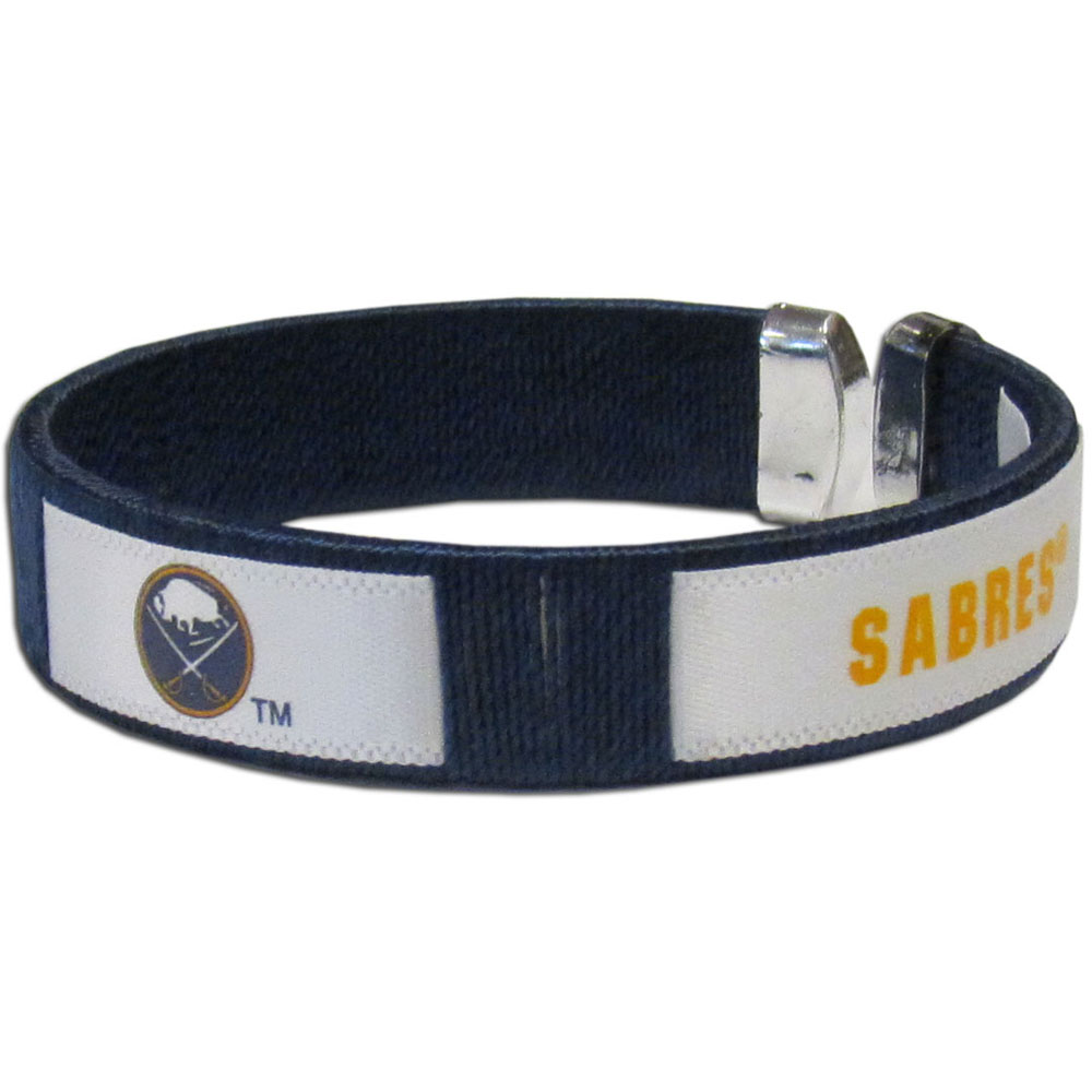 Buffalo Sabres® Fan Bracelet - Our Fan Bracelet is a one size fits all string cuff bracelets with a screen printed ribbon with the team Buffalo Sabres® name and logo.