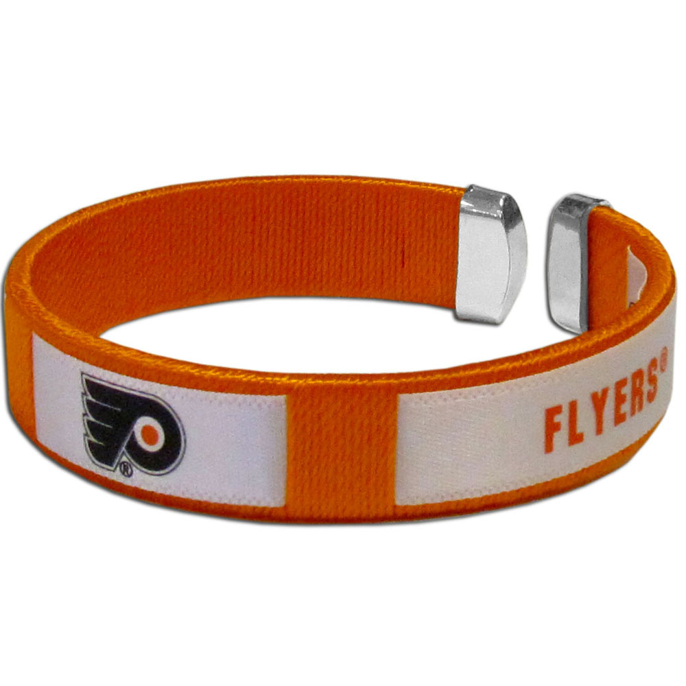 Philadelphia Flyers® Fan Bracelet - Our Fan Bracelet is a one size fits all string cuff bracelets with a screen printed ribbon with the team Philadelphia Flyers® name and logo.