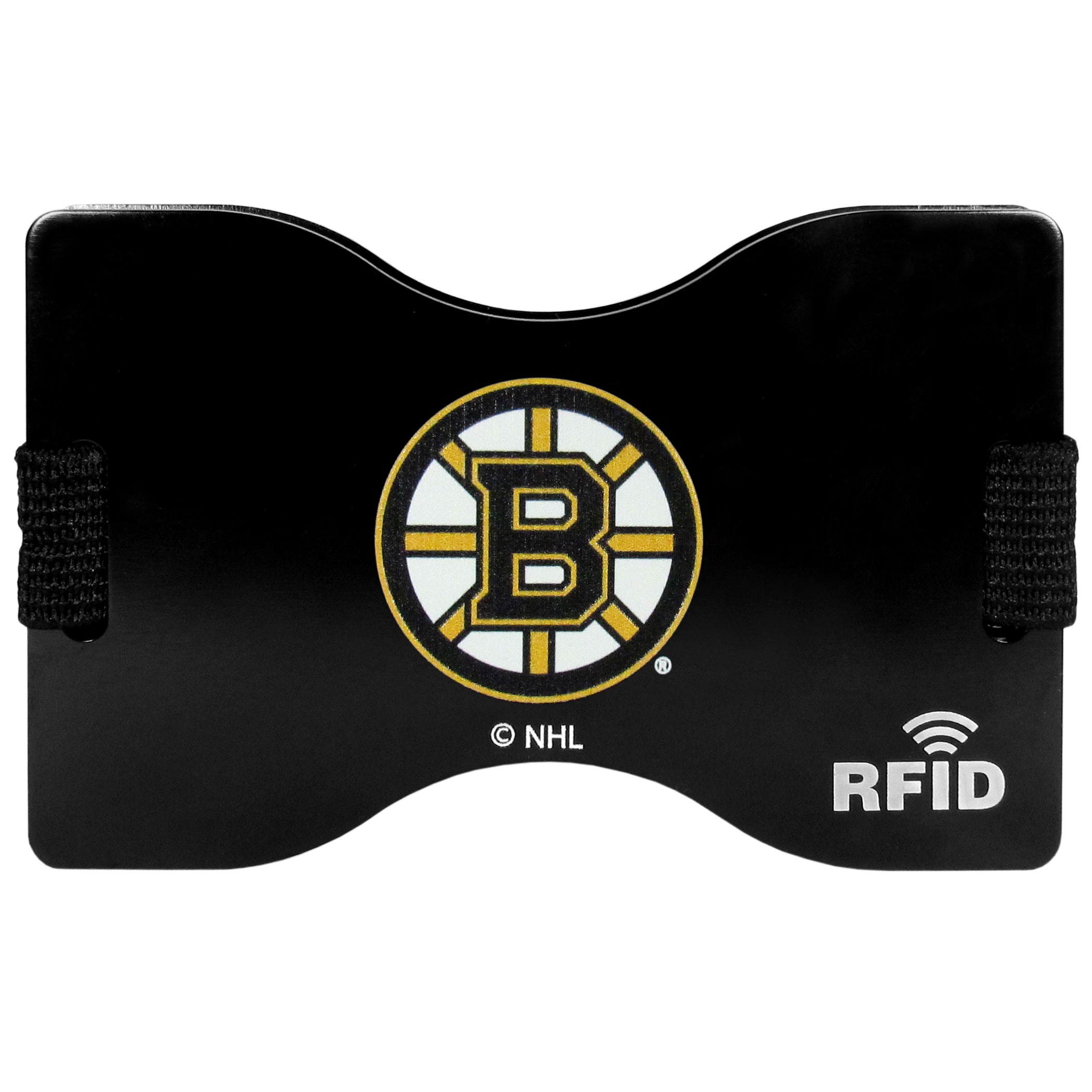 Boston Bruins® RFID Wallet - Our RFID blocking wallet and moneyclip is designed to help protect you from falling victim to a particular brand of electronic pickpocketing call RFID skimming. RFID skimming allows a criminal to scan your cards with chips and read your personal information. This attractive Boston Bruins® wallet protects against this threat while also meeting all of your slim wallet needs. Store your cards in between the expandable RFID plates and store you cash in the handy outer money clip.
