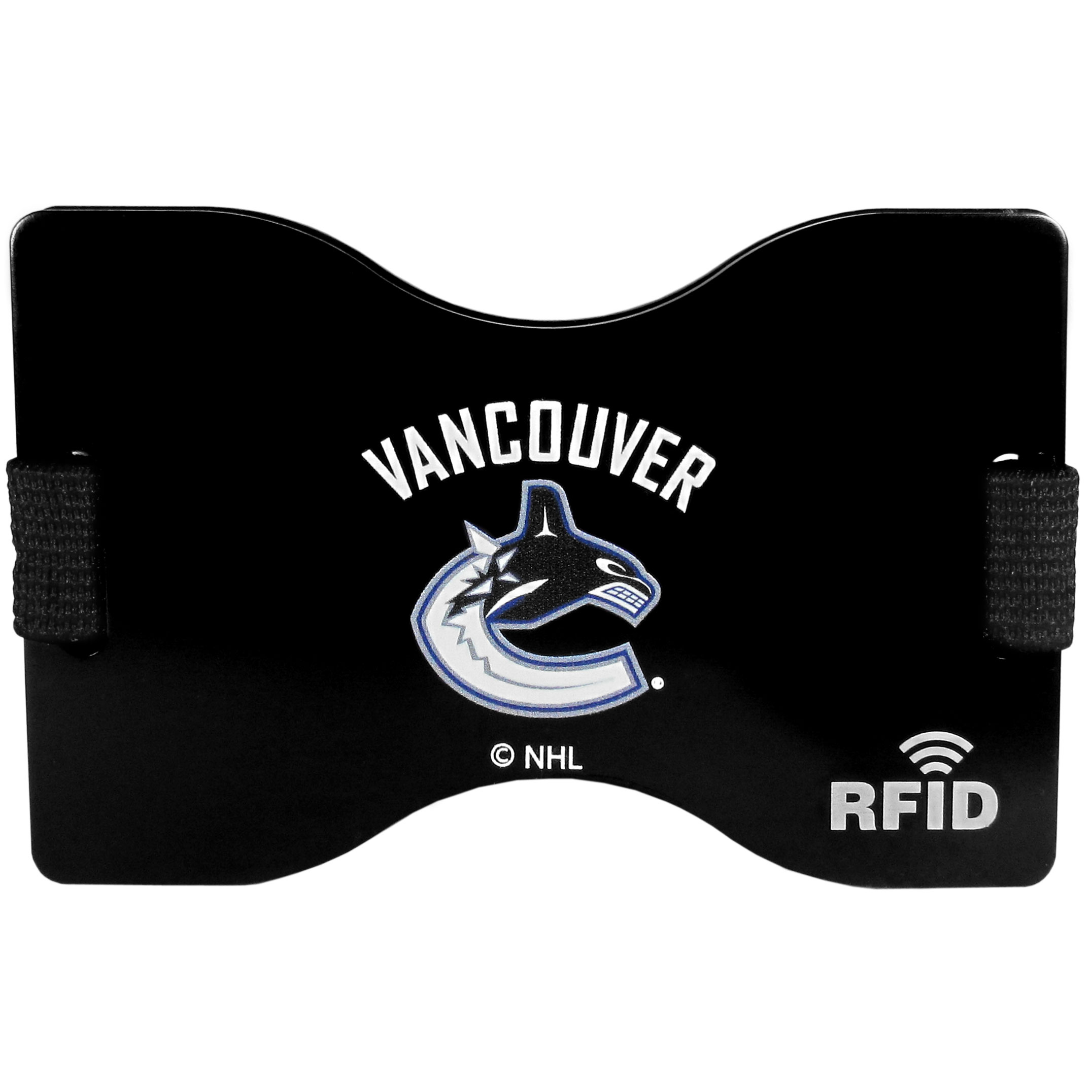 Vancouver Canucks® RFID Wallet - Our RFID blocking wallet and moneyclip is designed to help protect you from falling victim to a particular brand of electronic pickpocketing call RFID skimming. RFID skimming allows a criminal to scan your cards with chips and read your personal information. This attractive Vancouver Canucks® wallet protects against this threat while also meeting all of your slim wallet needs. Store your cards in between the expandable RFID plates and store you cash in the handy outer money clip.