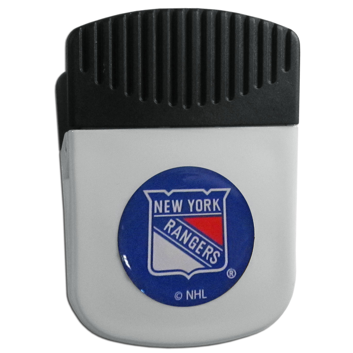 New York Rangers® Chip Clip Magnet - Use this attractive clip magnet to hold memos, photos or appointment cards on the fridge or take it down keep use it to clip bags shut. The magnet features a domed New York Rangers® logo.