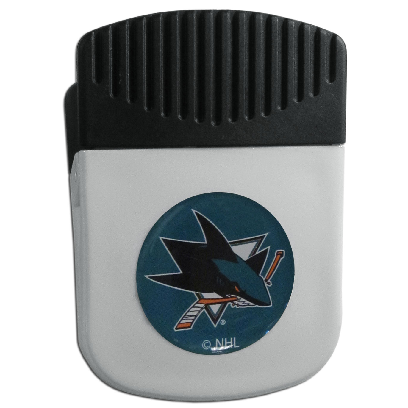 San Jose Sharks® Chip Clip Magnet - Use this attractive clip magnet to hold memos, photos or appointment cards on the fridge or take it down keep use it to clip bags shut. The magnet features a domed San Jose Sharks® logo.