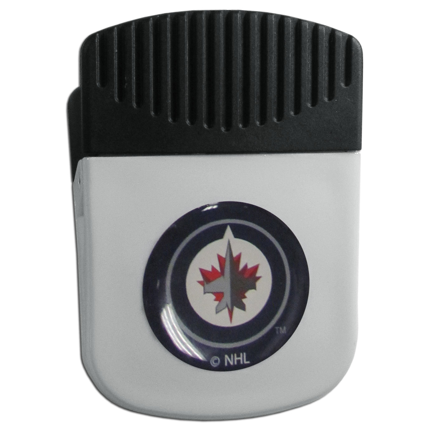 Winnipeg Jets™ Chip Clip Magnet - Use this attractive clip magnet to hold memos, photos or appointment cards on the fridge or take it down keep use it to clip bags shut. The magnet features a domed Winnipeg Jets™ logo.