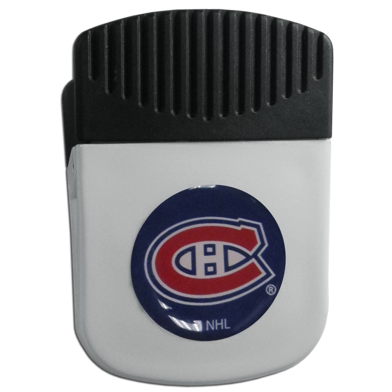 Montreal Canadiens® Chip Clip Magnet - Use this attractive clip magnet to hold memos, photos or appointment cards on the fridge or take it down keep use it to clip bags shut. The magnet features a domed Montreal Canadiens® logo.
