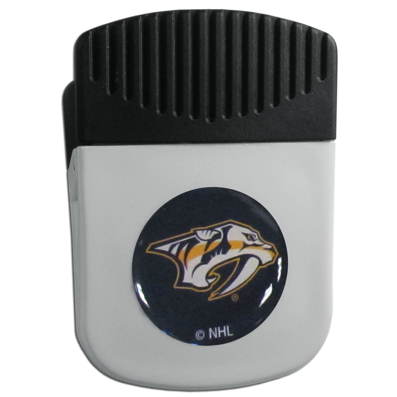 Nashville Predators® Chip Clip Magnet - Use this attractive clip magnet to hold memos, photos or appointment cards on the fridge or take it down keep use it to clip bags shut. The magnet features a domed Nashville Predators® logo.