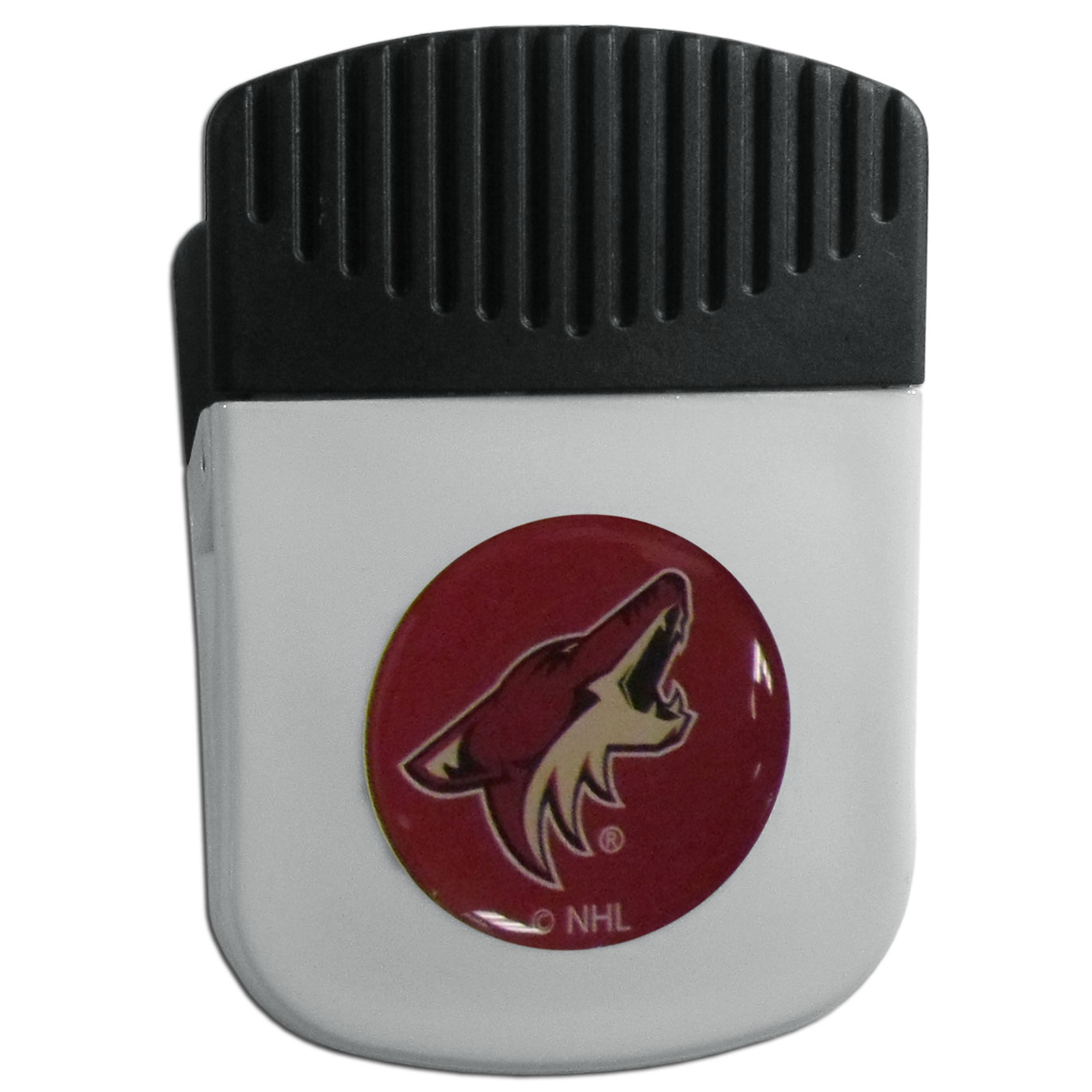 Arizona Coyotes® Chip Clip Magnet - Use this attractive clip magnet to hold memos, photos or appointment cards on the fridge or take it down keep use it to clip bags shut. The magnet features a domed Arizona Coyotes® logo.