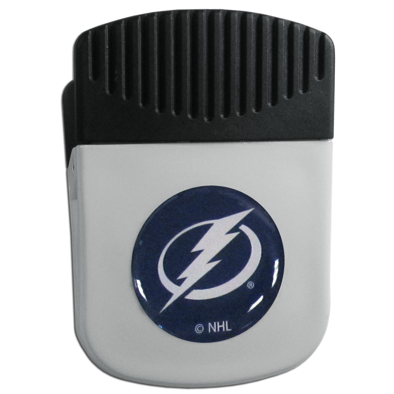 Tampa Bay Lightning® Chip Clip Magnet - Use this attractive clip magnet to hold memos, photos or appointment cards on the fridge or take it down keep use it to clip bags shut. The magnet features a domed Tampa Bay Lightning® logo.