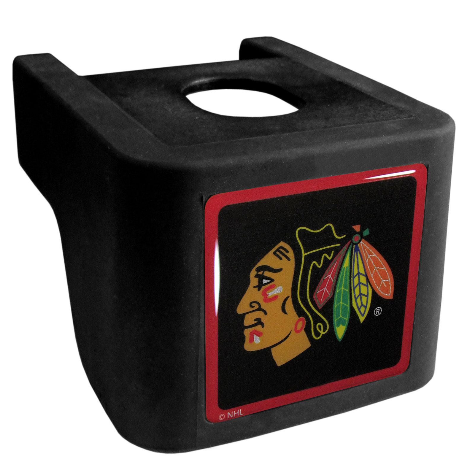 Chicago Blackhawks® Shin Shield Hitch Cover - This unique hitch cover features a large Chicago Blackhawks® logo. If you have ever hooked up a trailer or boat your have probably smashed your shins on the ball hitch a few times. This revolutionary shin shield hitch cover provides your much abused shins with the protection they deserve! The tough rubber hitch is rated to work with Class V hitch receivers hauling up to 17,000 gross trailer weight and 1,700 tongue weight allowing you to leave it on while hauling.