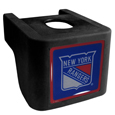 New York Rangers  Shin Shield Hitch Cover - This unique hitch cover features a large New York Rangers  logo. If you have ever hooked up a trailer or boat your have probably smashed your shins on the ball hitch a few times. This revolutionary shin shield hitch cover provides your much abused shins with the protection they deserve! The tough rubber hitch is rated to work with Class V hitch receivers hauling up to 17,000 gross trailer weight and 1,700 tongue weight allowing you to leave it on while hauling. Thank you for visiting CrazedOutSports
