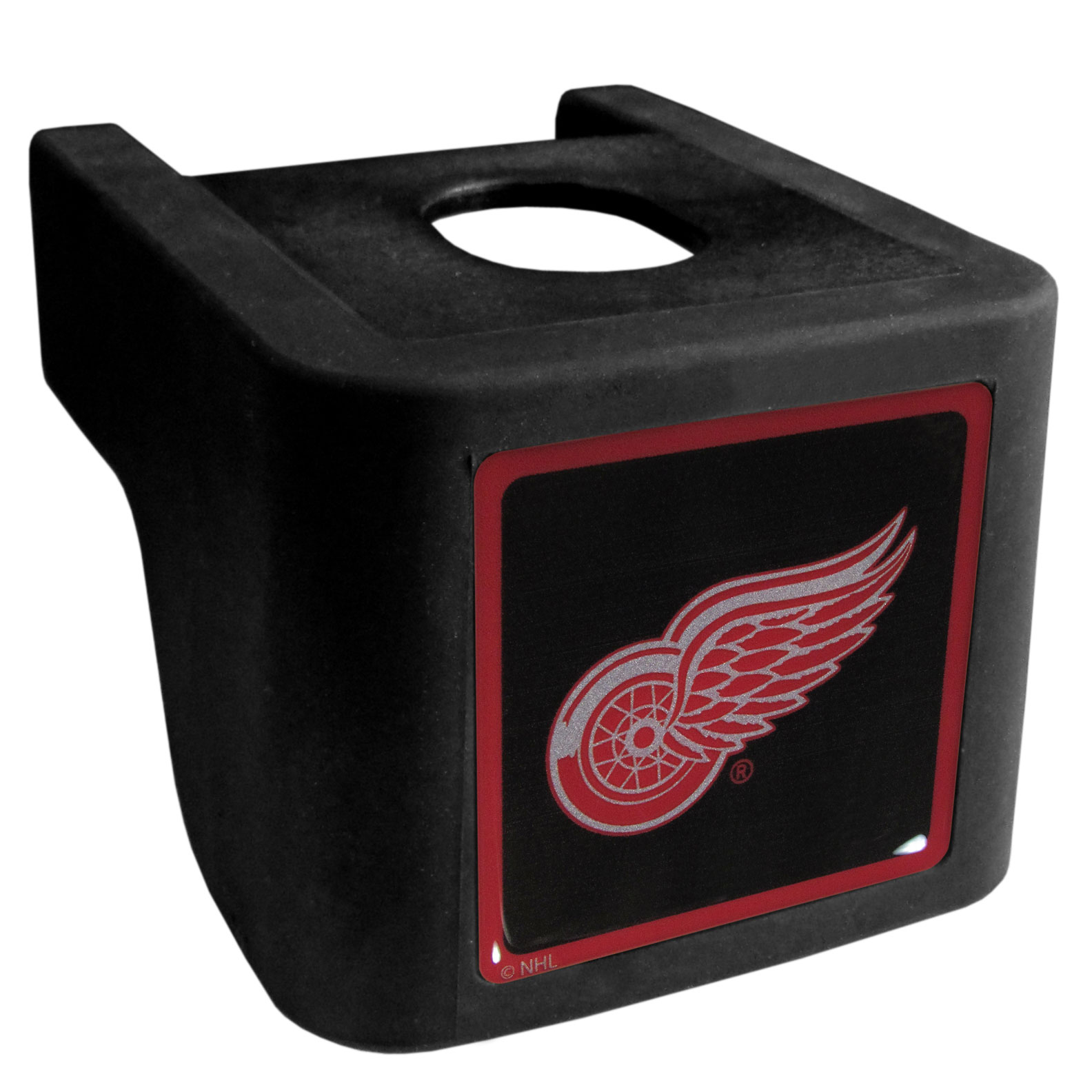 Detroit Red Wings® Shin Shield Hitch Cover - This unique hitch cover features a large Detroit Red Wings® logo. If you have ever hooked up a trailer or boat your have probably smashed your shins on the ball hitch a few times. This revolutionary shin shield hitch cover provides your much abused shins with the protection they deserve! The tough rubber hitch is rated to work with Class V hitch receivers hauling up to 17,000 gross trailer weight and 1,700 tongue weight allowing you to leave it on while hauling.