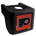 Philadelphia Flyers  Shin Shield Hitch Cover - This unique hitch cover features a large Philadelphia Flyers  logo. If you have ever hooked up a trailer or boat your have probably smashed your shins on the ball hitch a few times. This revolutionary shin shield hitch cover provides your much abused shins with the protection they deserve! The tough rubber hitch is rated to work with Class V hitch receivers hauling up to 17,000 gross trailer weight and 1,700 tongue weight allowing you to leave it on while hauling.