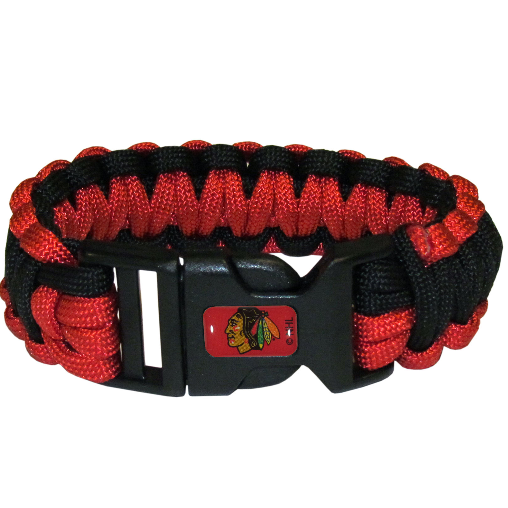 Chicago Blackhawks® Survivor Bracelet - Our functional and fashionable Chicago Blackhawks® survivor bracelets contain 2 individual 300lb test paracord rated cords that are each 5 feet long. The team colored cords can be pulled apart to be used in any number of emergencies and look great while worn. The bracelet features a team emblem on the clasp.